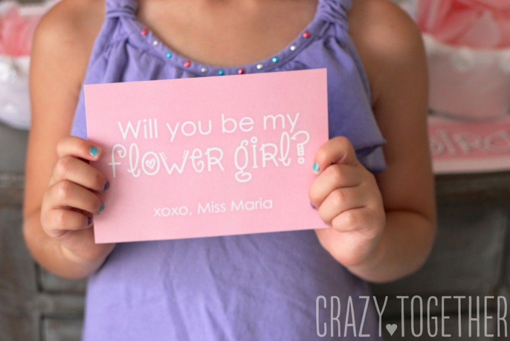 Free printable card to ask a flower girl to stand up in your wedding