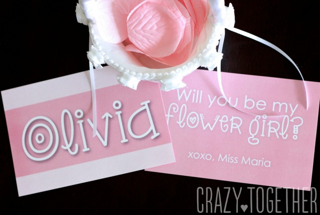 Free printable card to ask flower girls to stand up in your wedding
