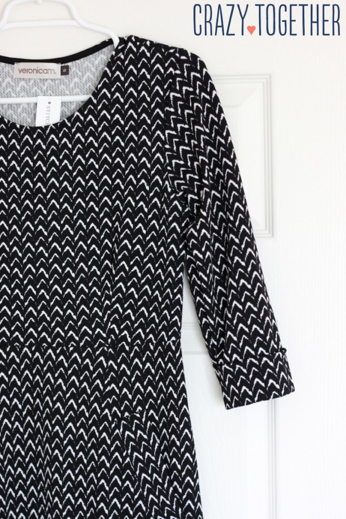 black and white Bellatrix 3/4 sleeve Chevron print shift dress from Stitch Fix, October 2014 blog review