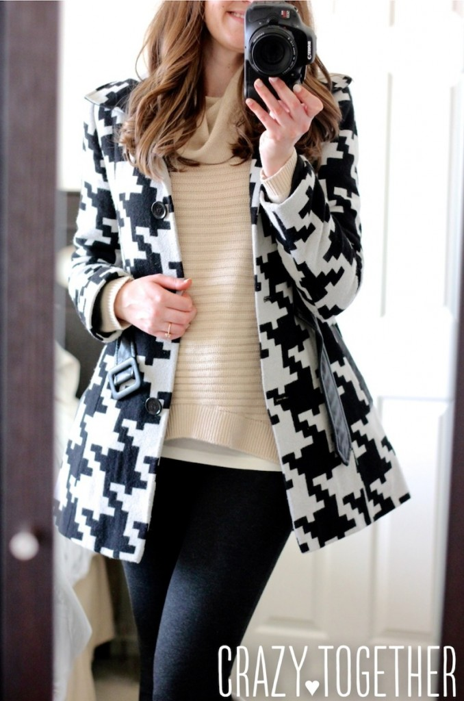 Houndstooth coat and cream Stitch Fix sweater