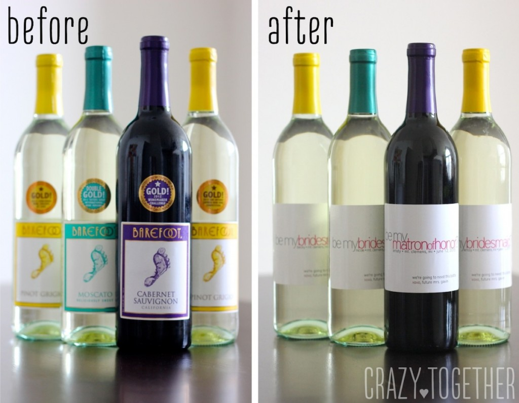 custom wine labels for asking bridesmaids to stand up in your wedding
