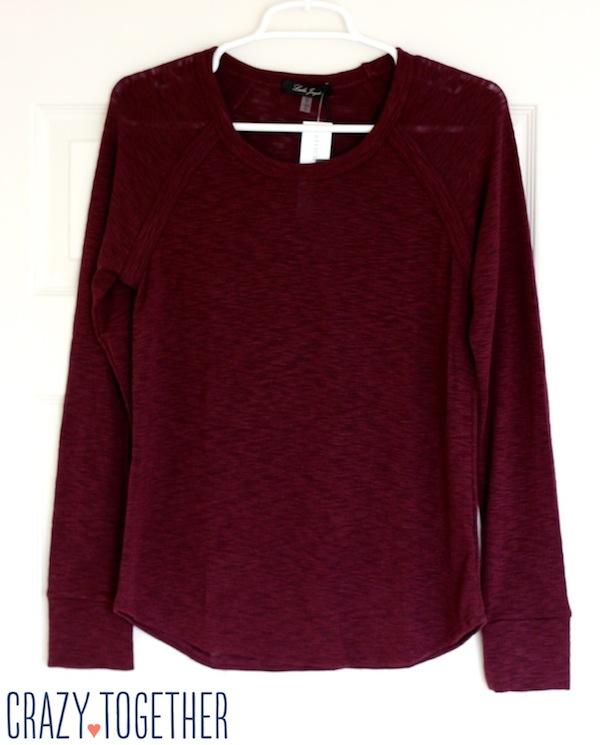 burgundy Cindy Slub Knit Raglan Top from Stitch Fix