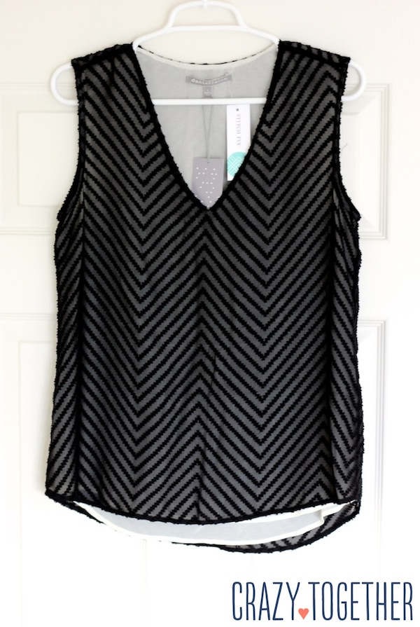 black Blaine Textured Chevron Print Blouse from Stitch Fix