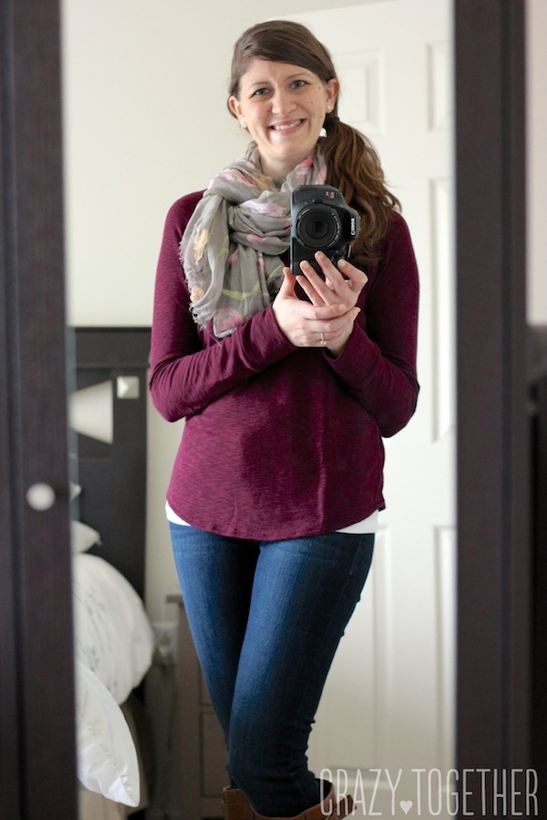 burgundy Cindy Slub Knit Raglan Top from Stitch Fix with a gray scarf, skinny jeans, and brown boots