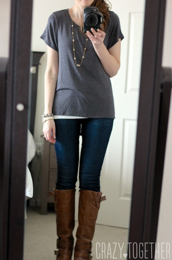 Sam Hi-Lo Short Sleeve Tee in gray from Stitch Fix with skinny jeans and brown riding boots
