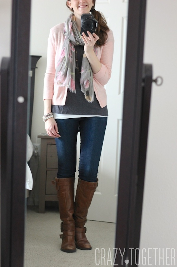 Sam Hi-Lo Short Sleeve Tee in gray from Stitch Fix with a peach cardigan and pale gray scarf