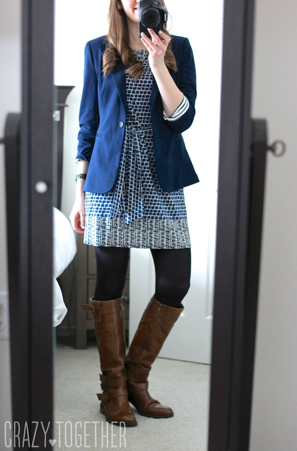 Kerri Abstract Print Sheath Dress from Leota and Benson 3/4 Ruched Sleeve Blazer from 41Hawthorn - January 2015 Stitch Fix review #stitchfix