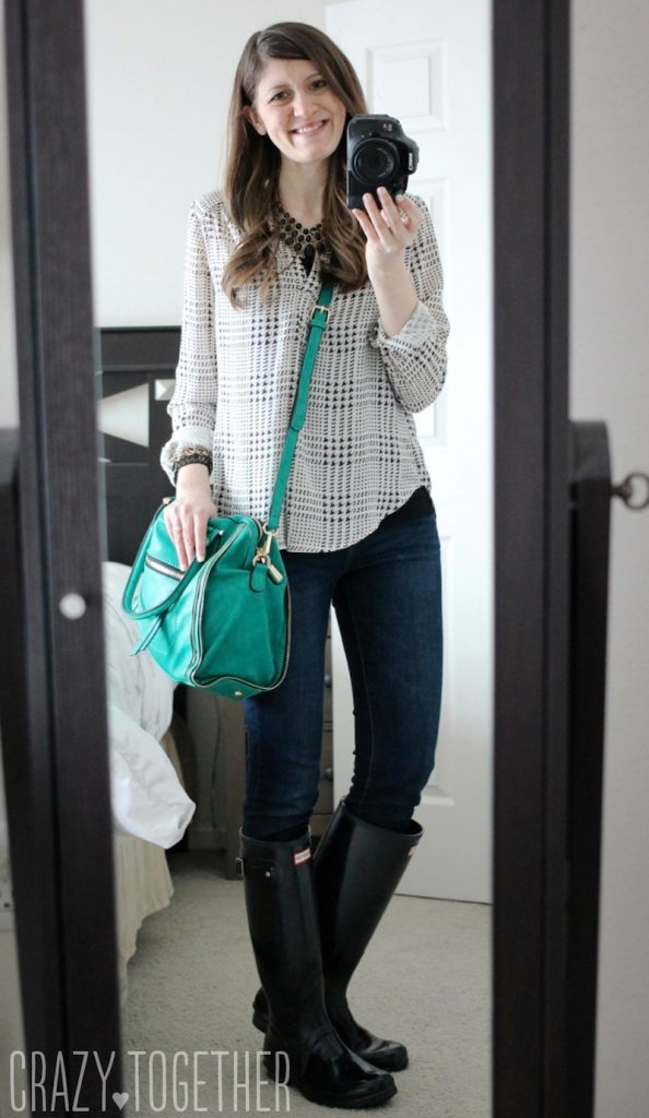 Elisha Zipper Accent Structured Sachel with Ackley Houndstooth Print Blouse Kensie skinny jeans from Stitch Fix #stitchfix
