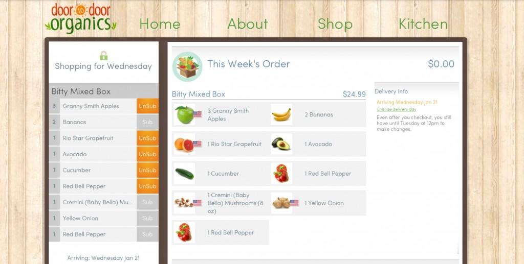 shop online for organic food with Door to Door Organics and have it delivered!