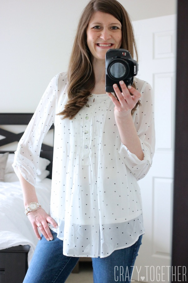 Daniel Rainn Bilson Dot Print Pleat Detail Blouse from Stitch Fix #stitchfix #fashion
