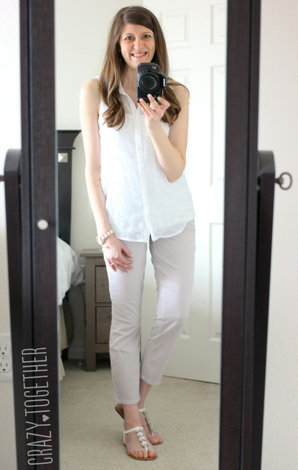 Level 99 light pink Patrick Cropped Chino Pants from Stitch Fix with a white sleeveless blouse #stitchfix #fashion