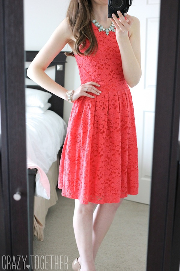 coral BRIXON IVY Nickole Sleeveless Lace Fit & Flare Dress from Stitch Fix #stitchfix #fashion #lace