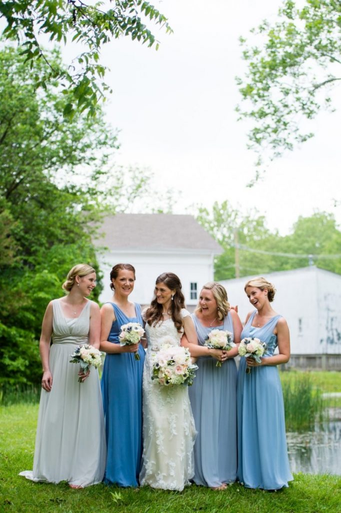 ombre inspired bridesmaid dresses - vintage theme wedding ideas - outdoor wedding portraits #wedding #vintagewedding