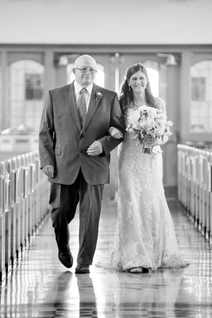 father of the bride walk down the aisle - traditional wedding ideas #wedding #Catholicwedding