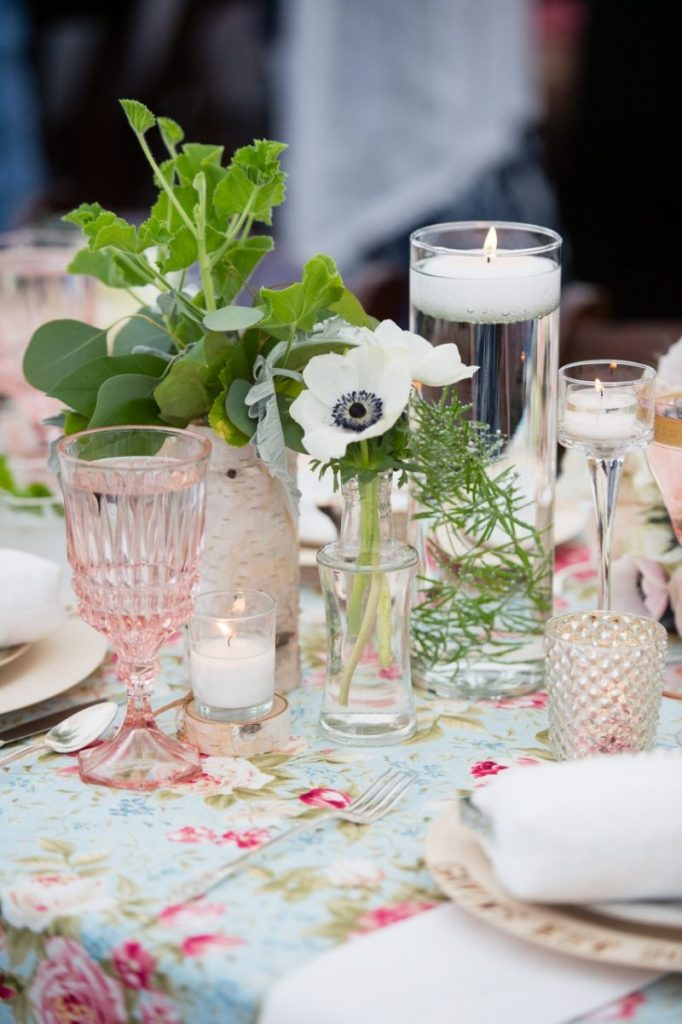 bud vase bottles on floral table linen- vintage outdoor wedding ideas #vintagewedding #wedding