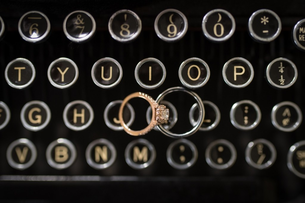 wedding rings on an antique typewriter - vintage wedding ideas
