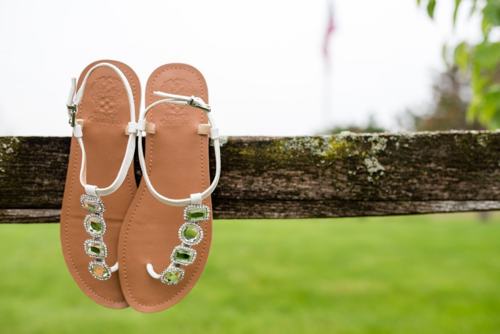 white wedding sandals with silver rhinestones from Vince Camuto - outdoor wedding ideas