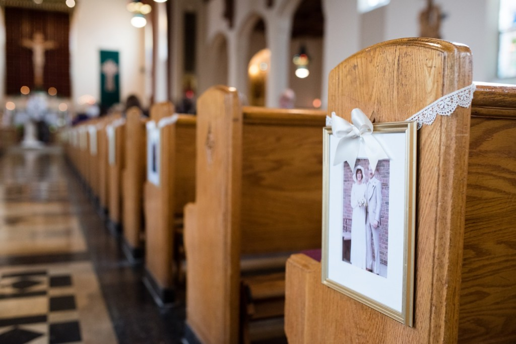 display old wedding photos in the church - vintage wedding ideas