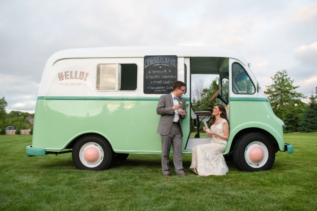 vintage wedding with an antique ice cream truck to serve dessert