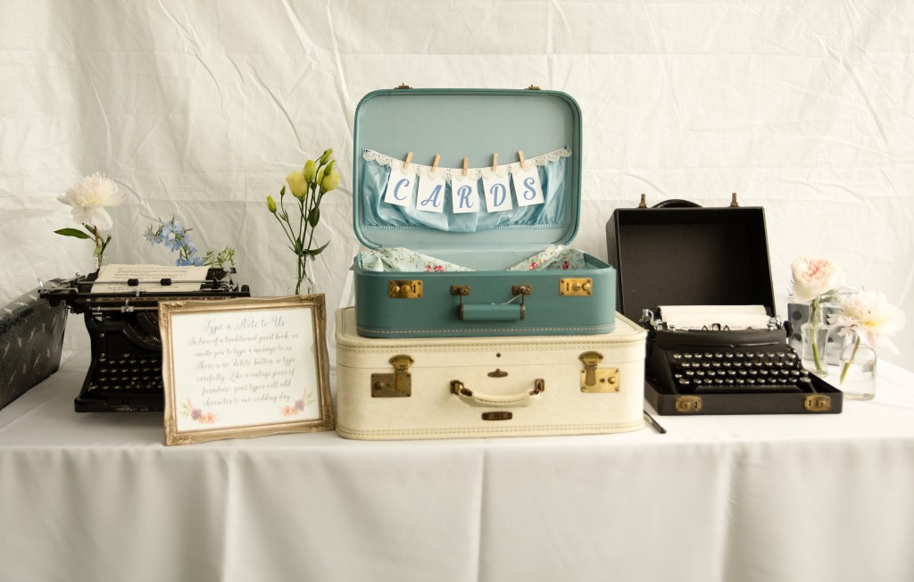 vintage wedding details: antique typewriters and suitcases