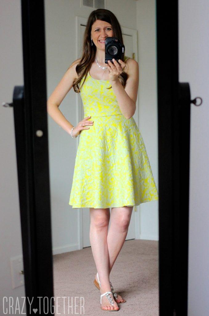 yellow Lex Textured Floral Knit Fit & Flare Dress - Stitch Fix