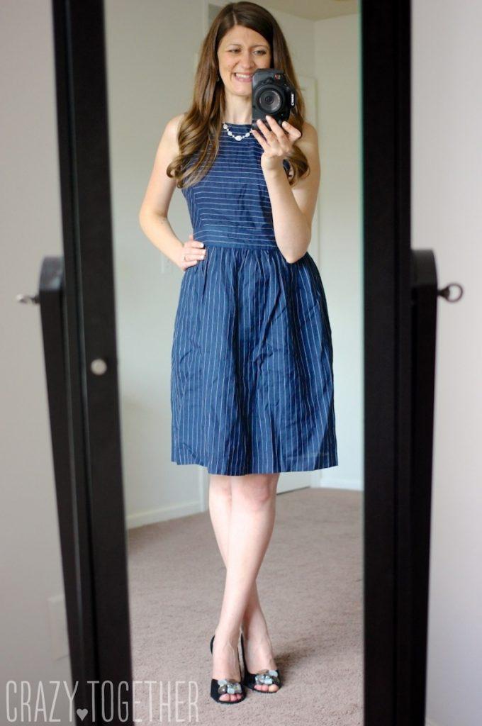 navy blue Edmund Pinstripe Dress from Ivy + Blu - Stitch Fix