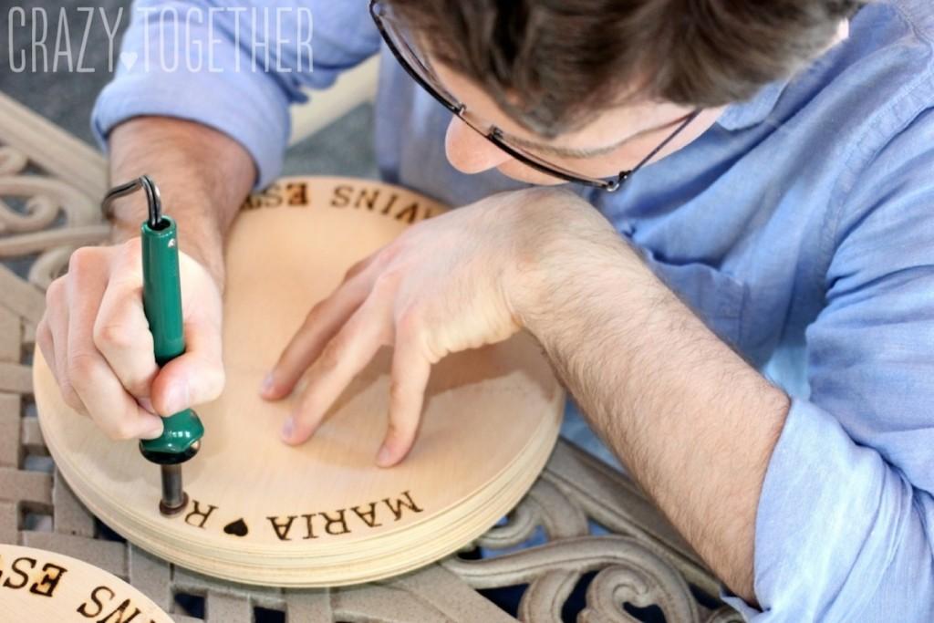 DIY Wedding Woodburned Plates
