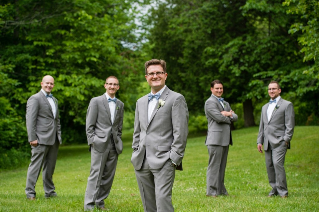 Groomsmen in suits and bowties - bridal party portraits