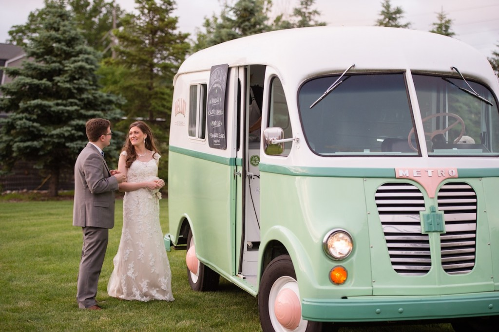 a vintage wedding with an antique ice cream truck
