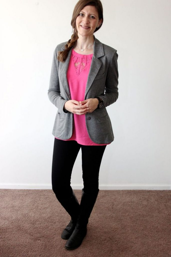 Jarred Lace Detail Cap-Sleeve Blouse from Brixon Ivy with Kaylie Solid French Terry Blazer from Tart and Rizzo skinny pant from Liverpool - Stitch Fix