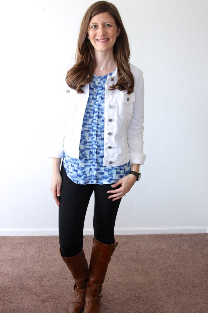 Wynn Front Pocket Blouse from Papermoon with Callie White denim jacket from Kut from the Cloth and Rizzo skinny pant from Liverpool - ALL FROM STITCH FIX!
