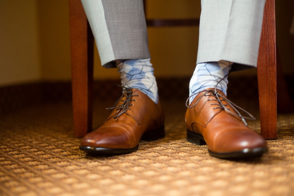 wedding shoes of groom getting ready