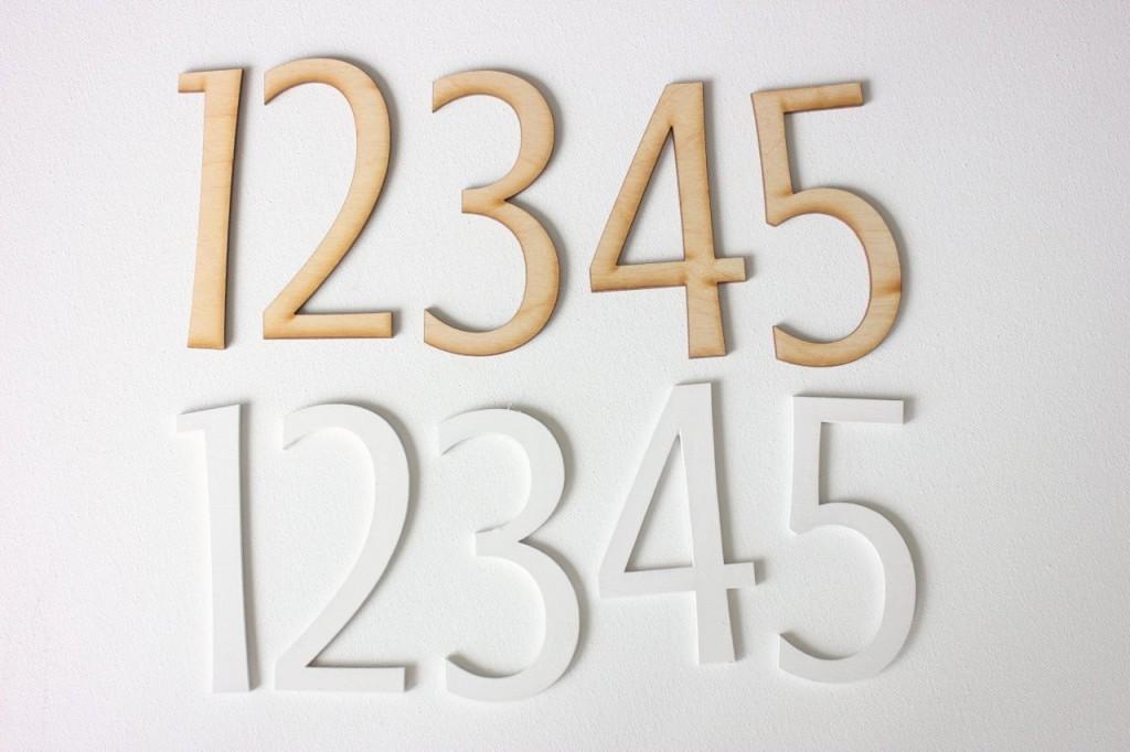 laser cut wood numbers