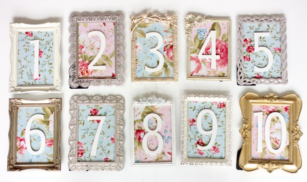 vintage table numbers - DIY