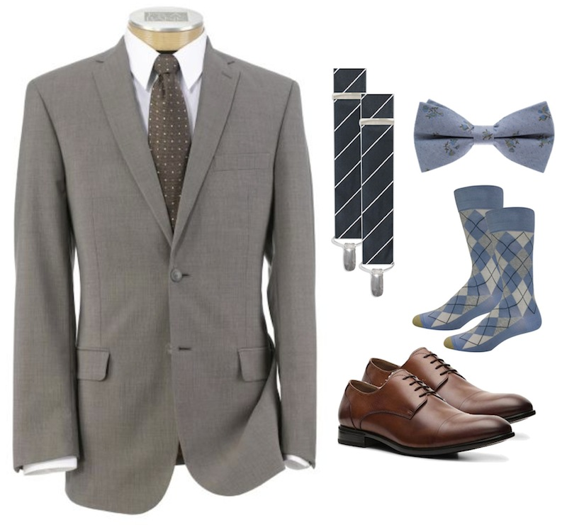 groomsmen suits and accessories for a vintage theme wedding