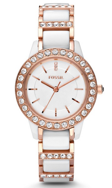 jessie fossil rose gold and ceramic watch