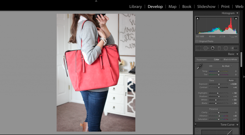 how to edit Stitch Fix photos in Lightroom