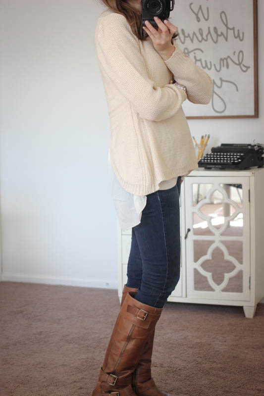 Potter Button Back Sweater from En Crème and Sophia Skinny Jeans from Kensie - Stitch Fix
