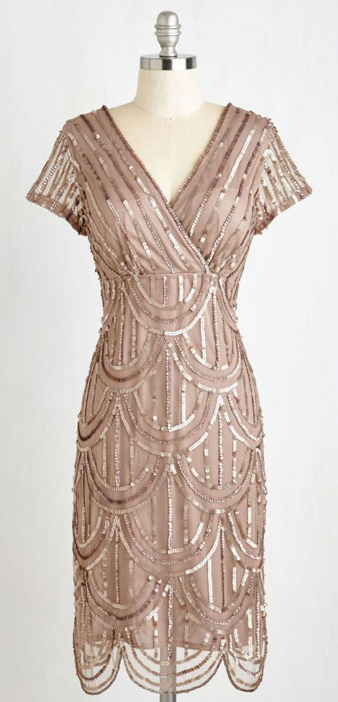 Cascading Cava dress in Taupe from Modcloth