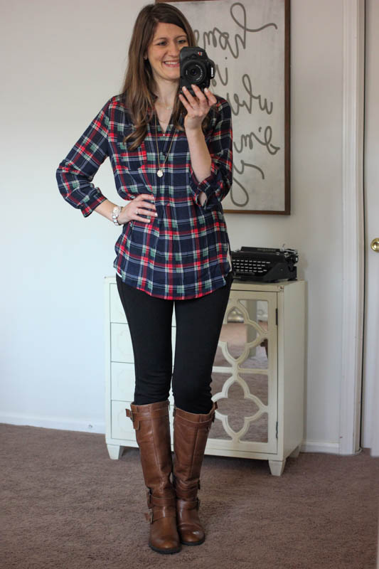 Colibri Plaid Printed Tab-Sleeve Shirt from Market & Spruce and Rizzo Skinny Pants from Liverpool - Stitch Fix