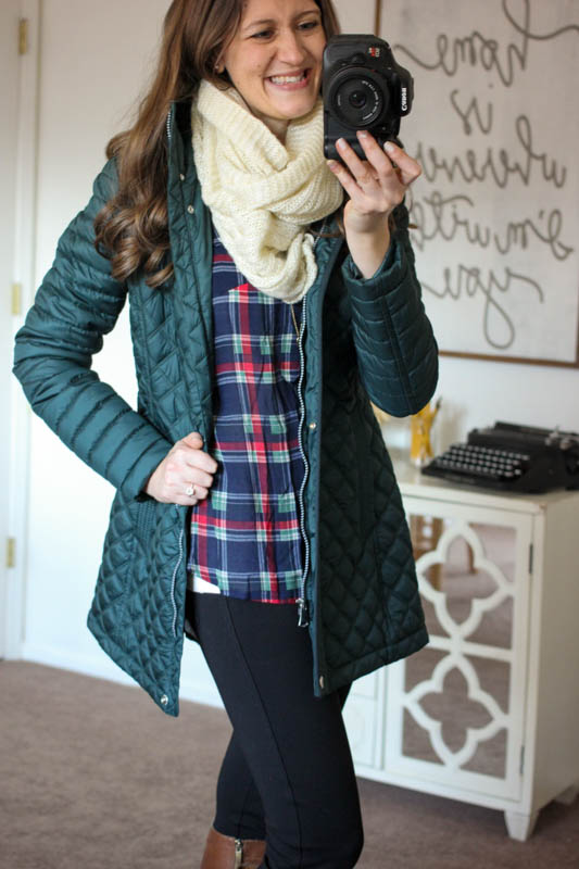 Colibri Plaid Printed Tab-Sleeve Shirt from Market & Spruce and Savana Quilted Coat from Andrew Marc - Stitch Fix
