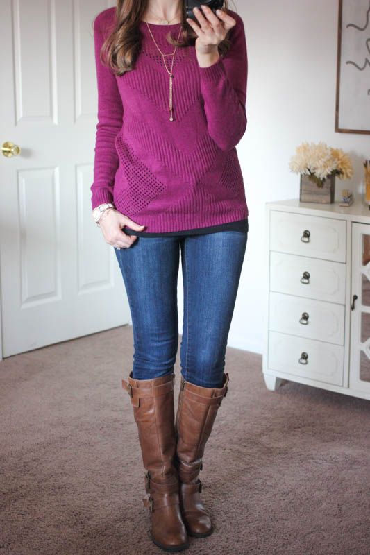 Yuna Chevron Pointelle Knit Sweater from Market & Spruce and Sophia Skinny Jeans from Kensie - Stitch Fix