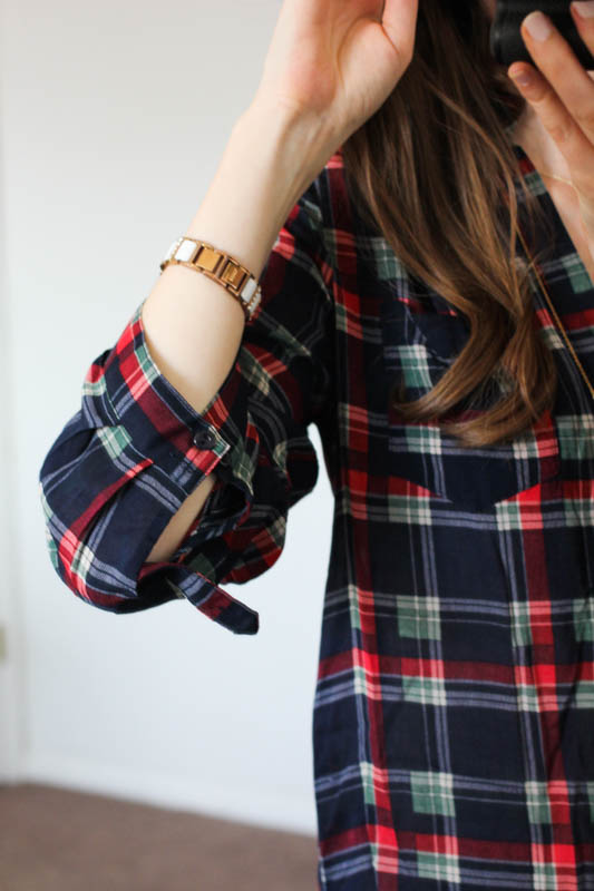 Colibri Plaid Printed Tab-Sleeve Shirt from Market & Spruce - Stitch Fix