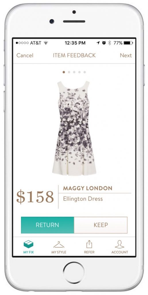 stitch fix dress on iphone app