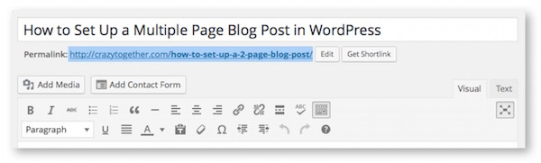 Where to find blog post link in WordPress