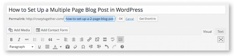 how to format a blog post with multiple pages