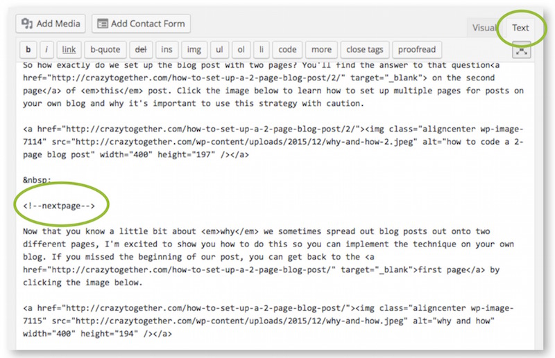 use the next page code to create multiple-page blog posts