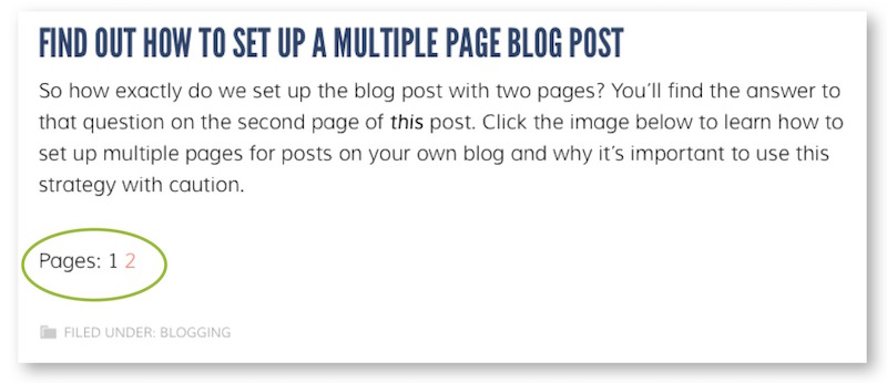how to set up a multiple page blog post