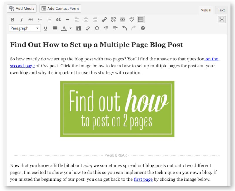 how to add a page break to your blog posts