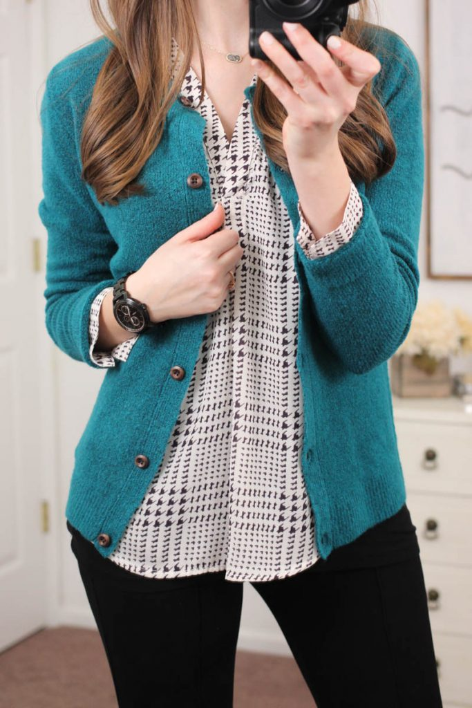 Brian Button Front Cardigan and Ackley Houndstooth Print Blouse - January Stitch Fix
